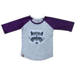 L&P L&P - Chandail Manches 3/4 Raton/Racoon 3/4 Sleeves Sweater, Gris et Vieux Mauve/Grey and Old Purple