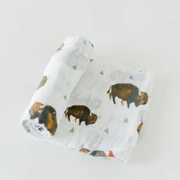 Little Unicorn Little Unicorn - Couverture en Mousseline de Coton à l'Unité/Single Cotton Muslin Blanket, Bison
