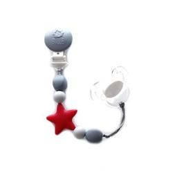 Bulle Bijouterie Bulle Bijouterie - Attache-Suce Étoile en Billes de Silicone/Star Silicone Beads Pacifier Clip, Rouge, Gris Pâle et Gris/Red, Light Grey and Grey