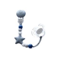 Bulle Bijouterie Bulle Bijouterie - Attache-Suce Étoile Nano/Star Nano Pacifier Clip, Gris, Tacheté, Gris Pâle et Saphir/Gray, Mottled, Pale Gray and Sapphire