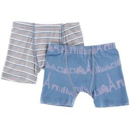 Kickee Pants Kickee Pants - Paquet de 2 Sous-Vêtements pour Garçon/Set of 2 Boxer Briefs for Boys, Paris Rayé et Skyline/Parisian Stripe and Slyline