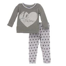 Kickee Pants Kickee Pants - Pyjama 2 Pièces à Manches Longues/Long Sleeve Pajama Set, Coeurs/Hearts