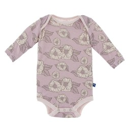 Kickee Pants Kickee Pants - Cache-Couche Manches Longues/Long Sleeve Romper, Douces Fleurs/Sweet Poppies