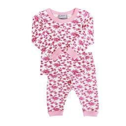 Coccoli Coccoli, Woodsy Atmosphere - Pyjama 2 Pièces en Jersey/Jersey 2 Pieces Pajama, Fleurs Rose/Pink Flowers