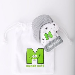 Munch Mitt Munch Mitt - Mitaine de Dentition/Theething Mitten, Étoiles Grises/Grey Stars