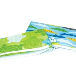 Bumkins Bumkins - Paquet de 2 Sacs à Collation Réutilisables/Set of 2 Reusable Snack Bag, Crocs et Tortue/Crocs and Turtle