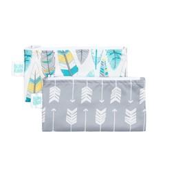 Bumkins Bumkins - Paquet de 2 Sacs à Collation Réutilisables/Set of 2 Reusable Snack Bag, Flèches et Plumes/Arrows and Feathers