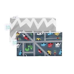 Bumkins Bumkins - Paquet de 2 Sacs à Collation Réutilisables/Set of 2 Reusable Snack Bag, Trafic et Chevron Gris/Traffic and Grey Chevron