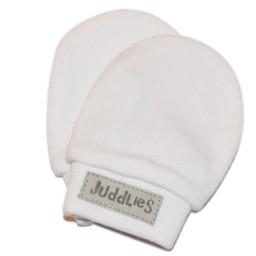 Juddlies Juddlies - Mitaines Anti-Égratignures/No-Scratch Mitts, Blanc et Gris/White and Grey