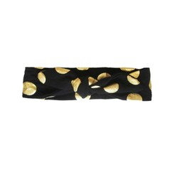 Baby Wisp Baby Wisp - Bandeau Noué/Top Knot Headband, Pois Noir et Or/Black and Gold