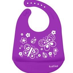 Kushies Kushies - Bavette Silicatch/Silicatch Bib, Papillons Violet/Purple Butterfly