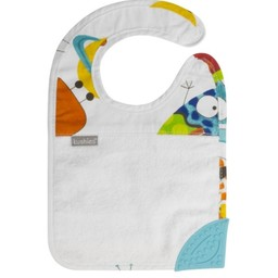 Kushies Kushies - Bavoir avec Coin en Silicone Silidrool/Silidrool Bib with Silicone Teether, Blanc/White