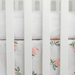 Little Unicorn Little Unicorn - Jupe de Lit en Percale de Coton / Cotton Percale Crib Skirt, Aquarelle Rose/Watercolor Rose