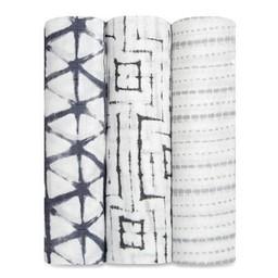 Aden + Anais *Paquet de 3 Couvertures Douces et Soyeuses de Aden et Anais/Aden and Anais Silky Soft Swaddles 3-Packs,Pebble Shibori