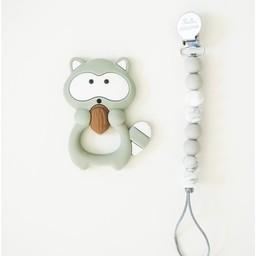 Loulou Lollipop Loulou Lollipop - Jouet de Dentition et Attache-Suce/Teething Toy With Holder, Raton/Raccoon, Gris/Gray