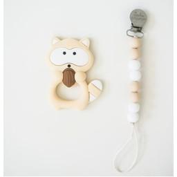 Loulou Lollipop Loulou Lollipop - Jouet de Dentition et Attache-Suce/Teething Toy With Holder, Raton/Raccoon, Crème/Cream