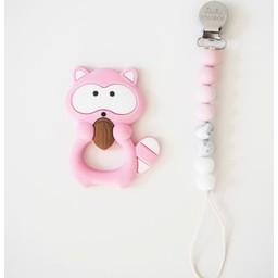 Loulou Lollipop Loulou Lollipop - Jouet de Dentition et Attache-Suce/Teething Toy With Holder, Raton/Raccoon, Rose/Pink