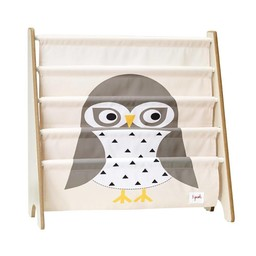 3 sprouts 3 Sprouts - Support à Livres/Book Rack, Hibou Gris/ Gray Owl