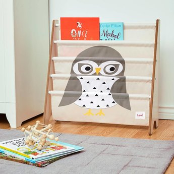3 sprouts 3 Sprouts - Support à Livres/Book Rack/ Hibou Gris/ Gray Owl