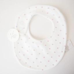 Bouton Jaune Bouton Jaune - Petit Bavoir en Ratine de Velours/Small Velvet Ratine Bib, Blanc Étoiles Rose/White Pink Stars, Taille Unique/One Size