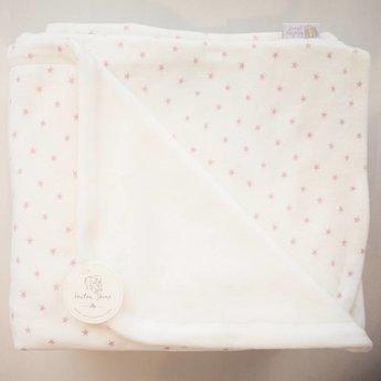 "Bouton Jaune Bouton Jaune - Couverture en Coton Organique 42po x 42po/42"" x 42"" Organic Cotton Blanket, Blanc Étoiles Rose/White Pink Stars"