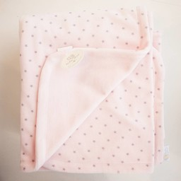 "Bouton Jaune Bouton Jaune -  Couverture en Ratine de Velours 42po x 42po/42"" x 42"" Velvet Ratine Blanket, Rose Étoile/Pink Stars"