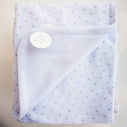 """Bouton Jaune Bouton Jaune -  Couverture en Ratine de Velours 42po x 42po/42"""" x 42"""" Velvet Ratine Blanket, Bleu avec Étoiles/Blue With Stars"""