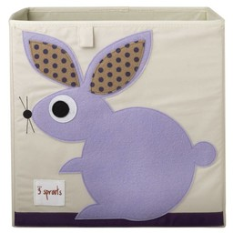 3 sprouts 3 Sprouts - Boîte de Rangement/Storage Box, Lapin Mauve/Purple Rabbit