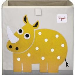 3 sprouts 3 Sprouts - Boîte de Rangement/Storage Box, Rhinocéros Jaune/Yellow Rhino