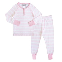 Coccoli Coccoli - Pyjama 2 Pièces/2 Pieces Pajamas, Rayé Rose et Blanc/Pink and White Stripe, Enfant/Toodler