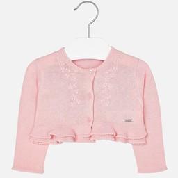 Mayoral Mayoral - Gilet en Maille Brodé/Embroidered Mesh Vest, Rose/Pink