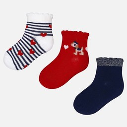 Mayoral Mayoral - Ensemble de 3 Paires de Chaussettes/Set of 3 Pairs of Socks, Rouge/Red