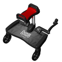 Lascal Lascal - Planche à Roulettes BuggyBoard Maxi avec Banc/BuggyBoard Maxi with Saddle, Noir et Rouge/Black and Red
