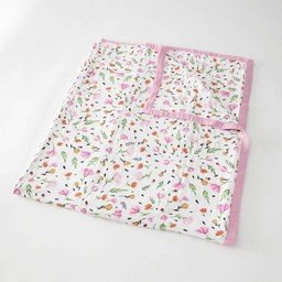 Little Unicorn Little Unicorn - Couette en Mousseline de Coton Grand Format/Cotton Muslin Big Quilt, Baies et Fleurs/Berry and Bloom