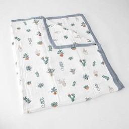 Little Unicorn Little Unicorn - Couette en Mousseline de Coton Grand Format/Cotton Muslin Big Quilt, Piquants/Prickle Pots