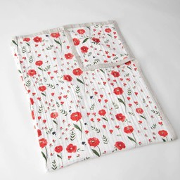 Little Unicorn Little Unicorn - Couette en Mousseline de Coton Grand Format/Cotton Muslin Big Quilt, Coquelicots/Summer Poppy