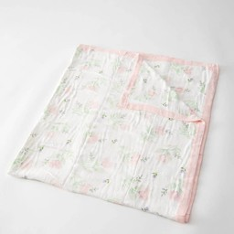 Little Unicorn Little Unicorn - Couette Deluxe en Mousseline de Bambou Grand Format/Deluxe Bamboo Muslin Big Quilt, Pink Peony