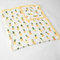 Little Unicorn Little Unicorn - Couette Deluxe en Mousseline de Bambou Grand Format/Deluxe Bamboo Muslin Big Quilt, Ananas/Pineapple