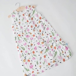 Little Unicorn Little Unicorn - Sac de Nuit en Mousseline de Coton/Cotton Muslin Sleep Bag, Baies et Fleurs/Berry and Bloom