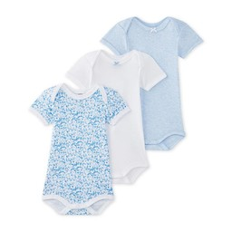 Petit Bateau Petit Bateau - Paquet de 3 Caches-Couches/Pack of 3 Rompers, Blanc et Bleu Myrtille/White and Blueberry Blue