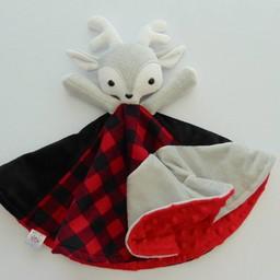 Créations Camomille Créations Camomille - Couverture Tout-Doux/Soft Blanket, Chevreuil Gris/Grey Deer