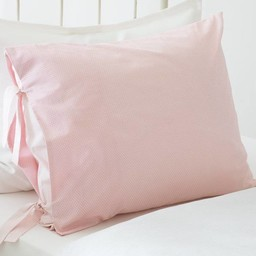 "Bouton Jaune Bouton Jaune - Cache-Oreiller avec Boucles 26""x20""/Cover Pillow with Buckles 26""x20"", Liberté, Pois et Rayures Rose/Pink Dots and Stripes"
