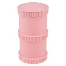 Re-Play Re-Play - Ensemble de Contenants Empilables (2 Pots et 1 Couvercle)/Snack Stack Open Stock ( 2 Pod Base and 1 Lid), Rose Bébé/Baby Pink
