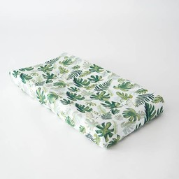 Little Unicorn Little Unicorn - Housse à Matelas à Langer en Mousseline de Coton/Cotton Muslin Changing Pad Cover, Tropical Leaf