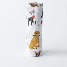 Little Unicorn Little Unicorn - Couverture en Mousseline de Coton à l'Unité/Single Cotton Muslin Blanket, Chiens/Woof