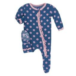Kickee Pants Kickee Pants - Pyjama à Pattes Muffin Avec Volants/Muffin Ruffle Footie, Pois Crépuscule/Twilight Dots