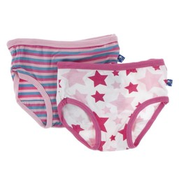 Kickee Pants Kickee Pants - Paquet de 2 Sous-Vêtements pour Filles/Set of 2 Girl Underwear, Flamants/Flamingo