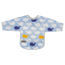 Kushies Kushies - Bavette avec Manches/Cleanbib with Sleeves, Baleines/Whales
