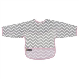 Kushies Kushies - Bavette avec Manches/Cleanbib with Sleeves, Chevron Rose/Pink