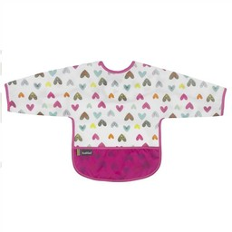 Kushies Kushies - Bavette avec Manches/Cleanbib with Sleeves, Coeurs/Hearts